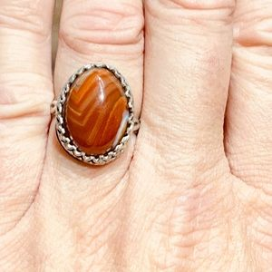 NEW Carnelian Lace Agate 925 Sterling Silver Ring